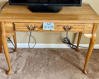 """Lot 8328.$70.00  Vintage Oak Sofa Table/TV Stand (40"""" W x 20"""" D  x 28.5"""" R) with 1 drawer"""