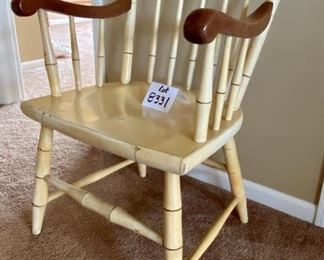 """Lot 8331. $85.00. Vintage Painted Chair, yellow and eagle.  In the style of Hitchcock. 22.5""""W x 21""""D  x 34.5"""" T"""