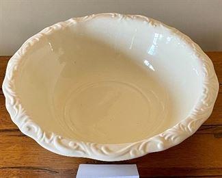 """Lot 8333. 30.00. Vintage White Water Pitcher (9""""W  x 11"""" T) and Bowl  (15.5""""diam. x 4.5"""" T). Glazed ceramic."""