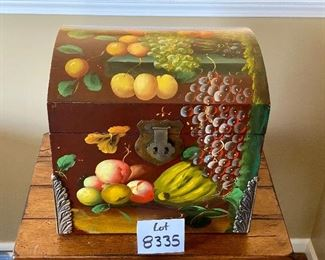 """Lot 8335. $40.00 Painted Wood Box  with Colorful Fruit on 3 Sides and Lid. . 16.5"""" W  x 13.5"""" D x 16"""" T. Storage for Blankets, Knitting or Art Supplies.  Or virtually anything else!"""