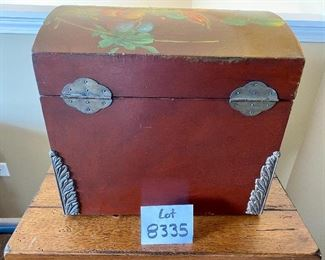 """LLot 8335. $40.00 Painted Wood Box  with Colorful Fruit on 3 Sides and Lid. . 16.5"""" W  x 13.5"""" D x 16"""" T. Storage for Blankets, Knitting or Art Supplies.  Or virtually anything else!"""