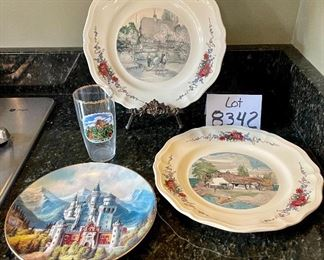 "Lot 8342.  $18.00.  2 - 10"" Obernai scenic plates; and 8"" Koniaszelt Bayern plate and an Annweiler Trifels glass."