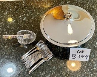 """Lot 8344.  $42.00  Vintage mid-Century modern Kromex serving bowl (11.5"""" diam) with in 8"""" glass insert,  and a 'Kromex' tray with brass handles (17"""" L x 7"""" W) 35 salad/dessert forks with glass buffet caddy."""