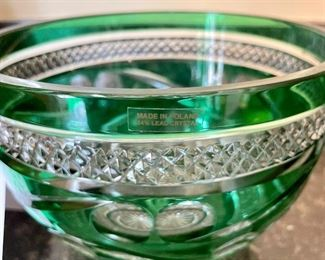 Lot 8351. $75.00  Beautiful Green cut to clear, 24% lead crystal bowl, Made in Poland.