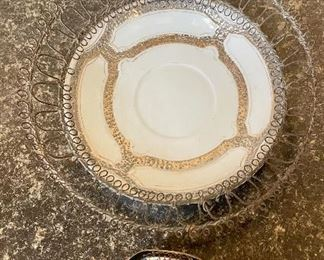 """Lot 8353. $30.00   Nice metal and porcelain mixed lot, including: Enameled 10"""" pedestal bowl with animal character design; 8"""" porcelain dish with metal design mounted in metal plate holder and a 2.5"""" square porcelain decorative bowl."""