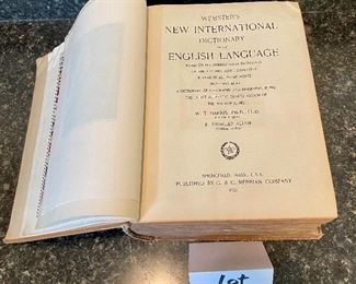 Lot 8356.  $50.00 Webster's New International Dictionary, Published by G & C Merriam Company 1925.  Not the pocket sized edition!!!!  Recent eBay sold price. $100.00