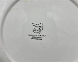 """Lot 8364. $30.00.  This is a lot of 5 items that while attractive and interesting, each has it's own issue that takes away from total perfection, kinda like most people!!!!  1) Petrus Regout & Co Maastricht footed bowl - made in Holland (3"""" diam x 3"""" T); 2) Magnifying Glass (loose glass); 3) Unmarked, old footed bowl 7"""" x 2.75"""" 4)  old Flow Blue transferware plate 9.5"""" (small crack) and 5) Trojan by Sebring Coronation Duchess-Blue.  If you delight in the wonder of beauty found in the imperfect, this is the lot for you.  Reminder, you. buy the entire lot.  We will not be breaking up the lots."""