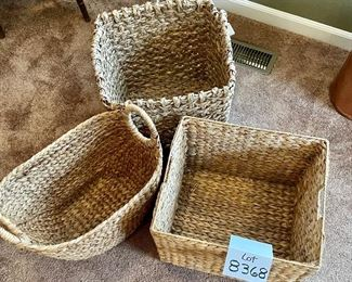 """Lot 8368.  $65.00 Lot of 3 Woven grass baskets with handles. 1) 16"""" x 14"""" x 12"""" T,  2) 15"""" x15"""" x 14"""" T,  3) 17"""" x 11"""" x 15.5"""" T"""