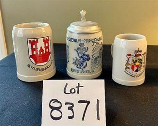 Lot 8371.  $18.00. Three German Stoneware Beer Steins.  as shown: 1) Rothenburg ODT; 2) Fustentue-Principality of Liechtenstein w/lid, 3) Furstentum Liechtenstein Stein