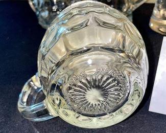 Lot 8376. $40.00  1) Ski Oslo mug 1982, 2) 3 covered, glass beer steins, 3) glass dish/basket with metal handle.