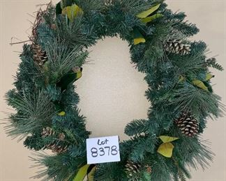 "Lot 8378. $30.00  Greenery winter wreath. 28"" Diameter"