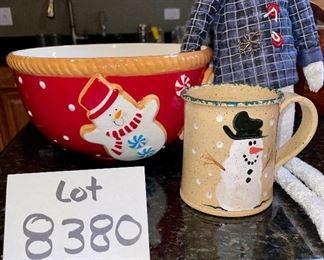 "Lot 8380.$18.00. 10"" diameter ceramic Gingerbread bowl, Three Rivers snowman mug, and soft sculpture, shelf sitter snowman."