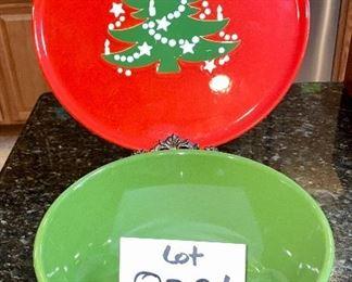"Lot 8381. $15.00 12.5"" diameter Christmas tree platter and a 9"" diameter x 4"" T Waechtersbach made in Germany bowl."