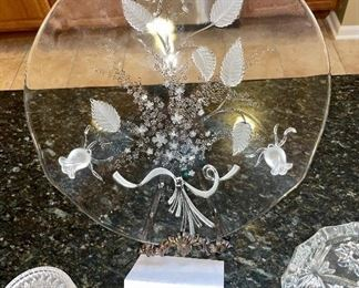 Lot 8382. $20.00  Floral divided tray, large glass ashtray, 5 crystal drink coasters and 1 bottle coaster.