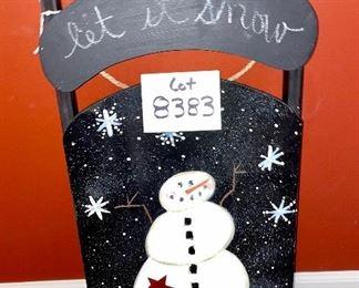 """Lot 8383.  $18.00. Cute, """"let it snow"""" Snowman sled. 13"""" x 27""""."""