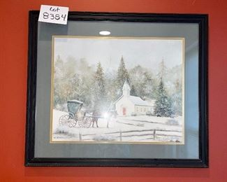 """Lot 8384. $45.00  Pencil signed C. Smith,  Pretty hoiday framed art, a winter scene with church and horse and buggy print in a black wood frame.27"""" x 23"""""""