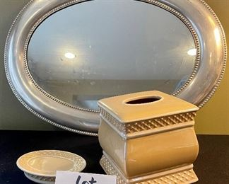 """Lot 8386.  $35.00  Oval mirror tray or hanging wall mirror 24"""" x 18"""" and a ceramic kleenex box holder and matching soap dish."""