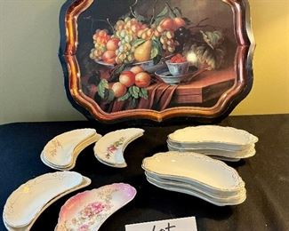 """Lot 8387.  $95.00 14  antique porcelain Bone dishes and a 22"""" x 17"""" tray."""