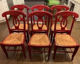 Lot 8238. $300.00  Beautiful Cherry Wood Dining Table with Wrought Iron Base and 6 Pottery Barn Napoleon Dining Chairs with Rush Seats in Red (.Very Rare)