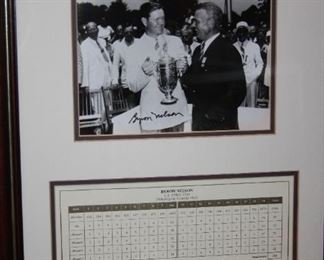 Framed Byron Nelson signed/autographed picture with COA.