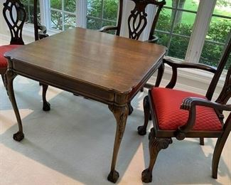 """Stickley 35"""" square game table with 4 chairs"""