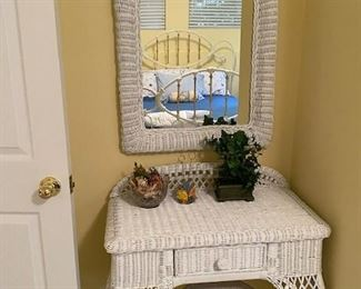 Wicker vanity and stool with available mirror