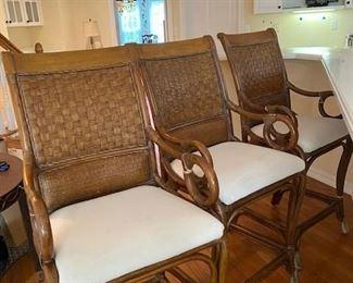 Wicker framed bar stools - 3 available