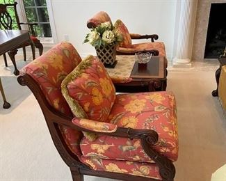 CR Laine floral print arm chairs, with one pillow each
