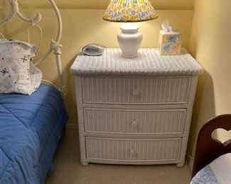 Wicker night stand to match vanity and armchair