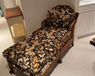Antique Chaise with newly upholstered cushions