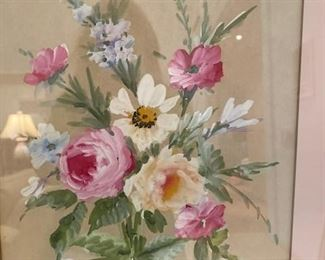 Hand painted floral watercolo r