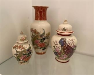 Lovely Asian detailed vase and jars