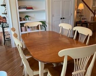 Ethan Allen Cherry and Painted Dining Set w/ 6 chairs