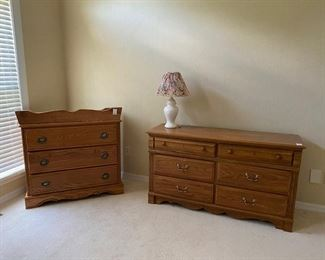 Oak Bedroom set- dresser/mirror, chest and changer, small wardrobe, desk and hutch, and bookshelf