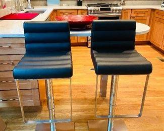 Very sleek High End genuine leather bar stools by Nuevo Fanning