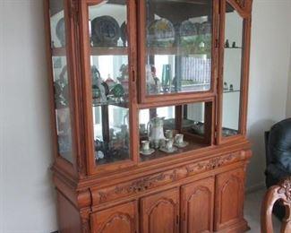Oak Hutch / Collectible Glass
