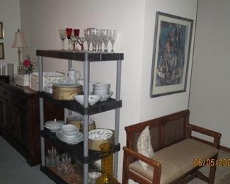 Blenko vase & hall bench