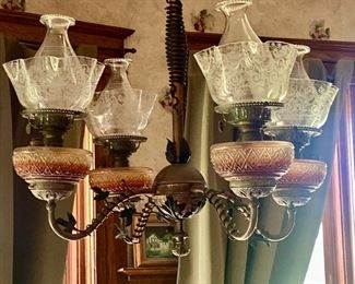 Victorian Chandelier, 4 lanterns, copper and wrought iron. All glass is intact - perfect. Can be used with lantern oil, or you can have it wired for electricity.