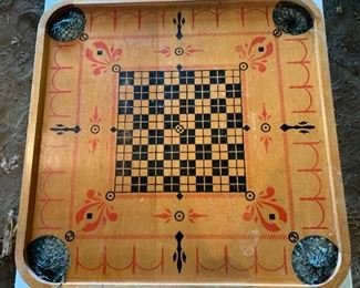 Vintage Carom 2-sided game board and game pieces