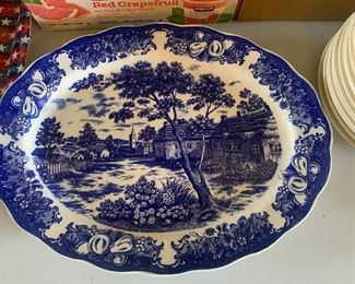 Reproduction oval blue and white platter