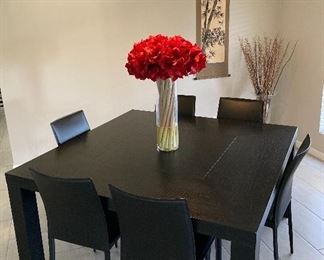 Black ash 5' square table with 6 leather chairs