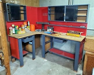 """Sears 2-Drawer, Steel Framed, Corner Work Center With Overhead Cabinets, 68"""" x 72"""" x 48"""""""