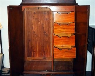 """Antique Statesville Furniture Company Solid Wood Wardrobe, With 4 Drawers, And Hanger Bar, Cedar Lined, 70"""" x 41"""" x 22"""""""