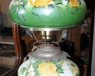"""Gone With The Wind Painted Porcelain Electric Parlor Lamp, 25"""" Tall"""
