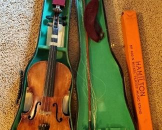 """Antique Antonis Stradivarius Cremonenfis Faciebat Anno 17, 23 """" Violin With Bow, Carrying Case, Folding Music Stand And Chin Rest"""