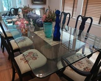 """Exceptionally large, thick beveled glass top has served as the family dining table.  108"""" x 48"""" seats up to 10.  Rests on faux stone cubes that are lightweight.  We do not provide moving service."""