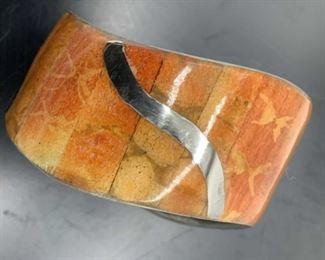 Inlaid Paneled Cuff Bracelet w Silver Tnd Accents