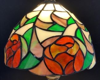 Tiffany Style Stained Glass Rose & Bronze Lamp