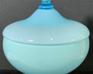 Blue Bubble & Opaque Glass Lidded Vessel