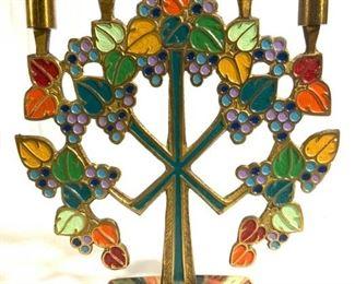 Painted Brass Judaica 5 Arm Candelabra